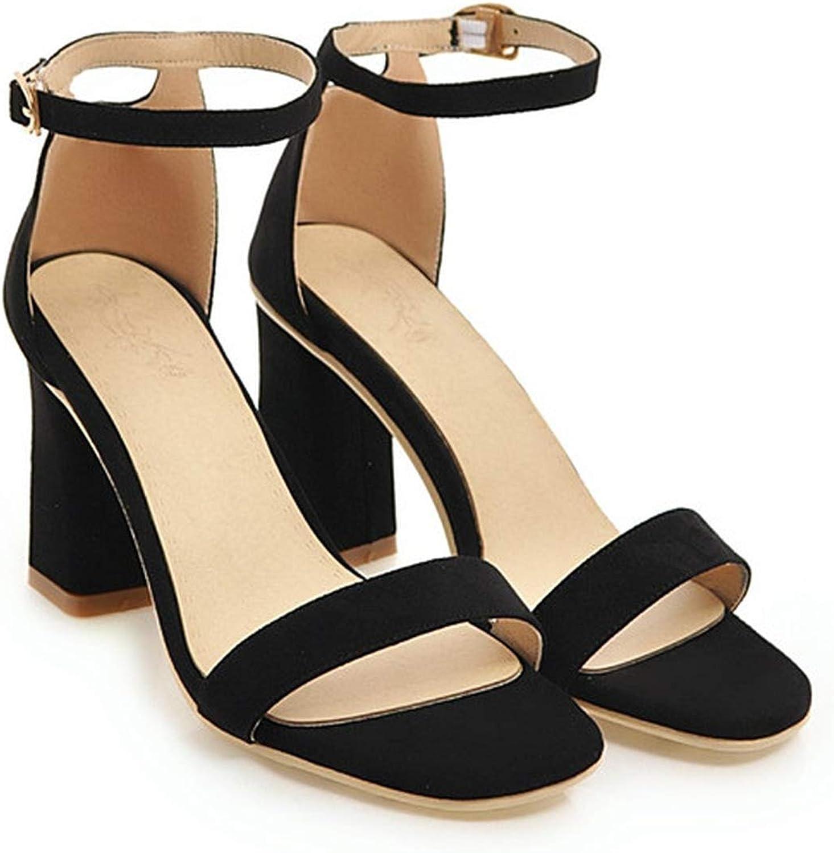 YuJi Women Sandals High Heels Ladies Summer shoes Open Toe Ankle Strap shoes Block Heels shoes,Black,10