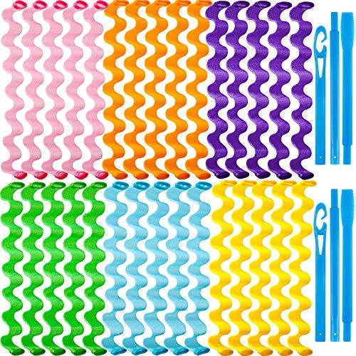 Willbond Spiral Haar Lockenwickler Styling Kit mit hitzefreien Rollen,2 Stück Styling Haken für extra langes Haar,30 Stück 55 cm
