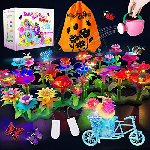 Flower Garden Building Toys  Stacking Learning Game Play Toys 115 PCS Gardening Pretend Playset for Kids Toddlers Build a Bouquet Floral Arrangement Educational Activity Birthday