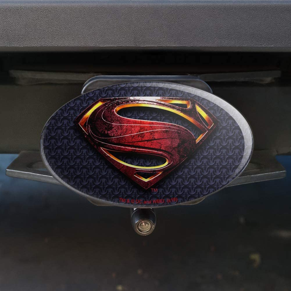 Graphics and More Justice League Movie Superman Logo Oval Tow Hitch Cover Trailer Plug Insert 2