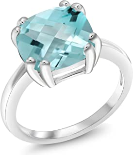 4.65 Ct Cushion Checkerboard Sky Blue Topaz 925 Sterling Silver Ring