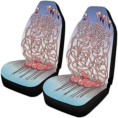 Vijf flamingo's labyrin-spel-taak vind stoelhoezen voor de voorstoelbekleding auto voorstoelkussen fPets