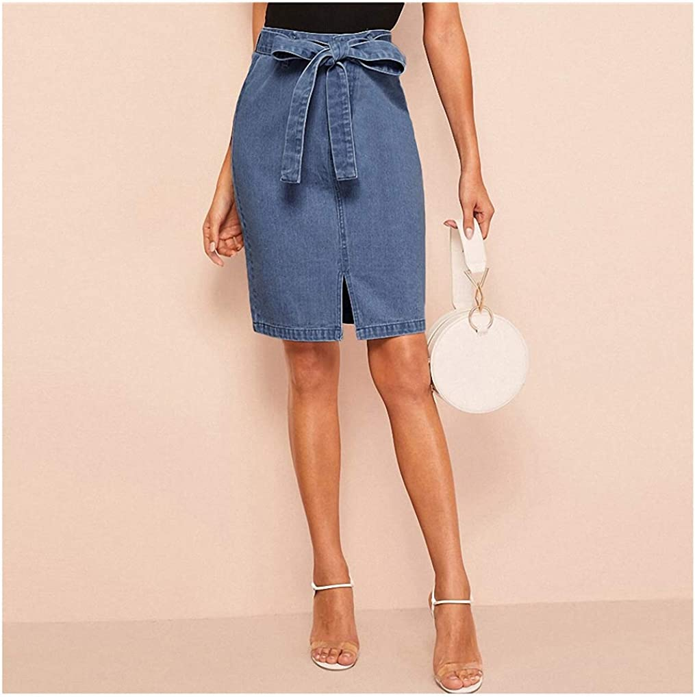 Dawery Slit Front Belted Denim Skirt Women Summer Casual Shift Skirts Blue Solid Zipper Style Skirts
