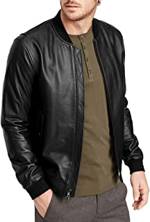 Mens Vintage Faux Leather Jacket Varsity Bomber Hip Hop Casual Zipper Ribbed Slim Fit Fall Winter Coat