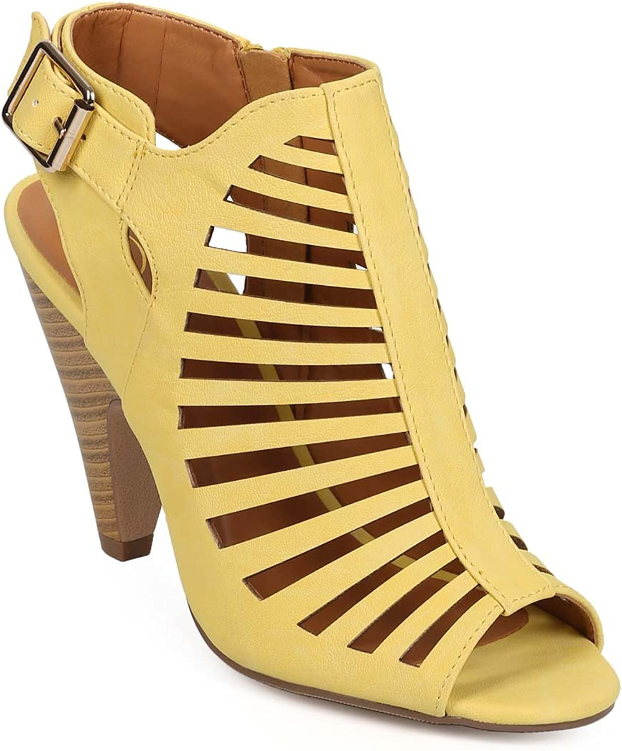 Delicious BK59 Women Leatherette Peep Toe Strappy Caged Chucky Heel Ankle Bootie Sandal - Mustard