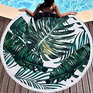 Leo-Shop Manta Redonda de Toallas de Playa Bandera Retro de Colorado con Hoja de Marihuana Manta de Playa Manta con borlas Toallas Alfombra de Picnic Alfombra de Yoga