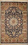 ETNICO Alfombra de seda y lana oriental de un solo nudo Ardabil, hecha a mano, 121 cm x 182 cm, color negro