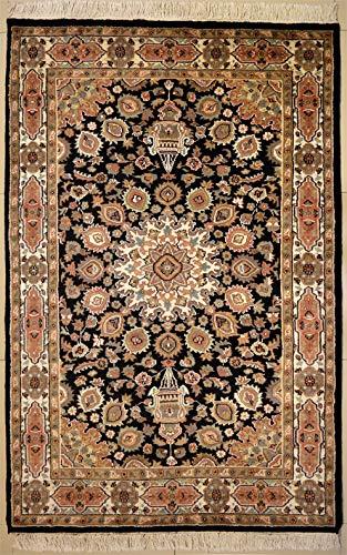 etnico Ardabil Teppich, 121 cm x 182 cm, orientalisch, aus Seide und Wolle, 121 cm x 182 cm, Schwarz