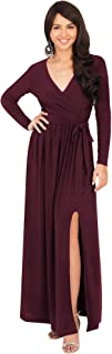 KOH KOH Womens Long Sleeve V-Neck High Slit Cocktail Evening Gown Maxi Dress