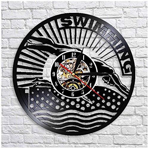 Vinyl wanduhr Schwimmen CD Rekord Mode Kunst Dekoration Dekoration PVC Wanduhr Stille Uhr Vinyl Wandbild 7 Farbe LED