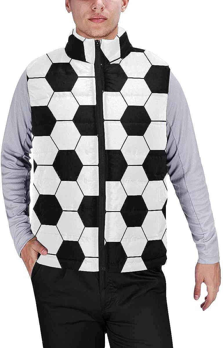 InterestPrint Men's Full-Zip Padded Vest Jacket for Outdoor Activities Silly Husky Puppy