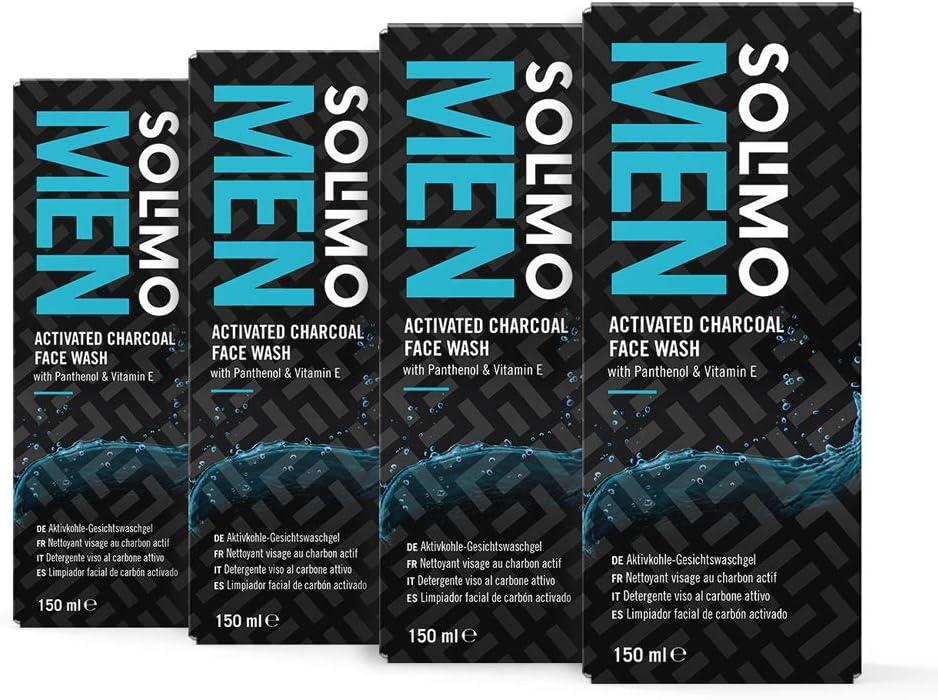 Marca Amazon - Solimo Men Limpiador facial de carbón activo con pantenol y vitamina E, 4x150ml