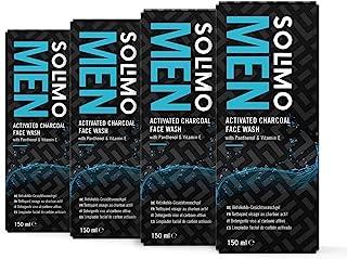 Marchio Amazon - Solimo Uomo detergente viso al carbone attivo con pantenolo e vitamina E, 4x150ml