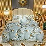 funda de edredón juvenil-Verano nuevo lavado de agua seda cómoda reversible cuatro conjuntos de una sola cama soltera de...