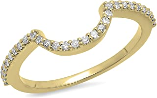 0.15 Carat (ctw) Round Diamond Ladies Anniversary Wedding Stackable Band Contour Guard Ring, 10K Gold