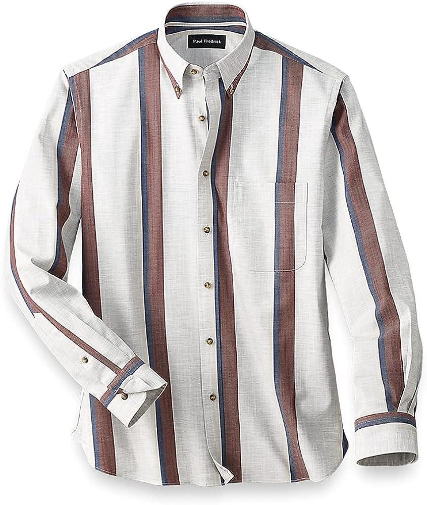 Paul Fredrick Men's Easy Care Cotton Stripe Casual Shirt, Tan, Size 4XL