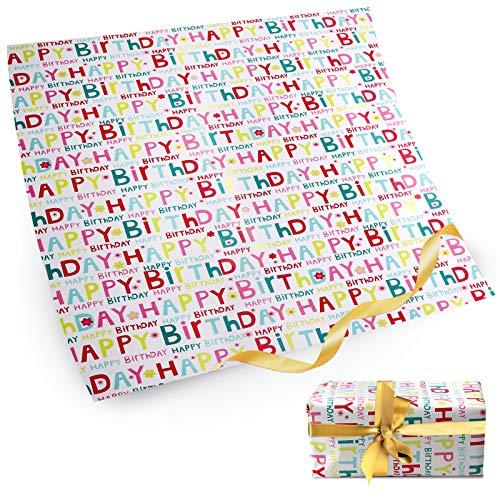 Happy Birthday Geschenkpapier 5 Blatt mit 2-Meter Band für Kinder Frauen Männer Geburtstag Geschenkverpackung 50 x 70cm