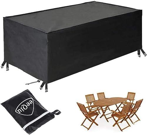 eeQiu Housse Meubles de Jardin, Housse Table Exterieur, Anti-UV Oxford Robuste Bache Table et Chaise de Jardin Tissu ...