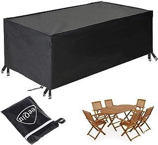 eeQiu Housse Meubles de Jardin, Housse Table Exterieur, Anti-UV Oxford Robuste Bache Table et Chaise de Jardin Tissu Oxfor...