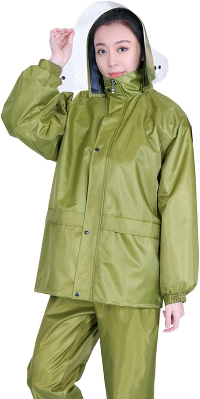 ZEMIN Rain Jacket Coat Raincoat Poncho Windbreaker Waterproof Cover Unisex Split Pants Canvas Set Polyester, 3 Styles, 5 Sizes Available Waterproof (color   Thin, Size   XL)