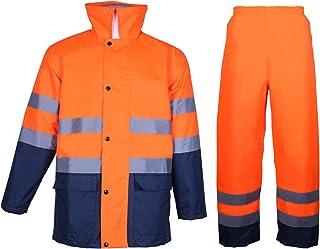 FONIRRA Homme pour Combinaison de pluie haute visibilité de classe 3 avec capuche pliable Veste et pantalon de travail imp...