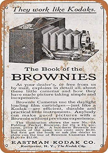 Señal de metal Mefoll de 8 x 12 cm, diseño de cámara de brownie Eastman Kodak Brownie