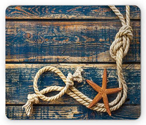Maritieme muismat, mariene touw en zeester op oude houten planken achtergrond foto, rechthoek anti-slip rubberen muismat
