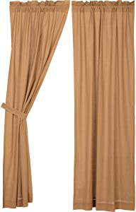 VHC Brands Kindred Star All Cotton Primitive Rustic Style Plaid Set of 2 with Rod Pocket Curtain, Panel Set 84x40, Tan