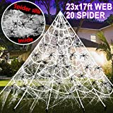 17 Ft Halloween Decorations Outdoor, Halloween Giant Spider Web 20 Fake Spiders and Stretch Cobweb Set Decor Scary Haunted House Party Supplies Outdoor Yard Lawn Halloween Party Decor