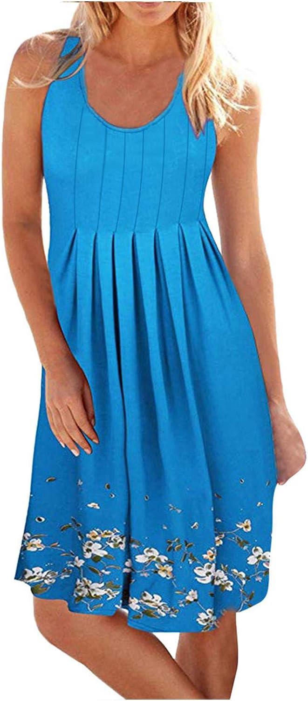 siilsaa Dress for Women, Women's Summer Floral Printed Sleeveless Casual Cocktail Party Sundress Mini Dress A Line Dress