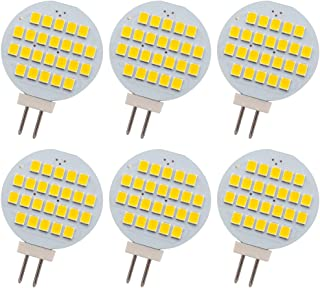 GLMING G4 24-2835 SMD - Bombillas LED (3 generaciones, 12 V CC, 24 V, 6 unidades), color blanco cálido