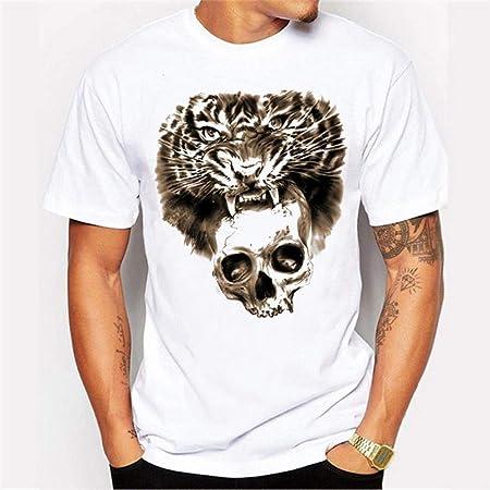Yiren Moda Camisa Estampada con Estampado de Calavera Tigre ...
