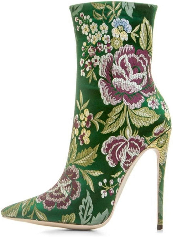 LVRXJP13 Frauen Frauen Frauen Damen feine Ferse Spitze Satin High Heels Seitlichem Reißverschluss Floral Martin Stiefel Kurze Stiefel, Grün  5cc7fa