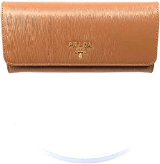 Prada Women's Caramel Beige Vitello Move Long Leather Flap Continental Wallet 1MH132