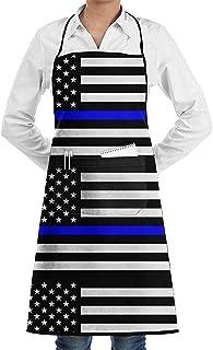 Darlene Ackerman(n) Thin Blue Line Blue Lives Matter Flag.PNG Delantal Personalizado Ajustable con Bolsillos, Lindo Delantal Delantal Babero