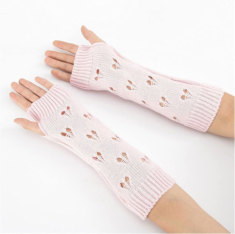 JSJJAWS Winter Gloves Women Gloves Stylish Hand Warmer Winter Gloves Women Arm Crochet Knitting Hollow Heart Mitten Warm Fingerless Gloves (Color : A, Gloves Size : One Size)