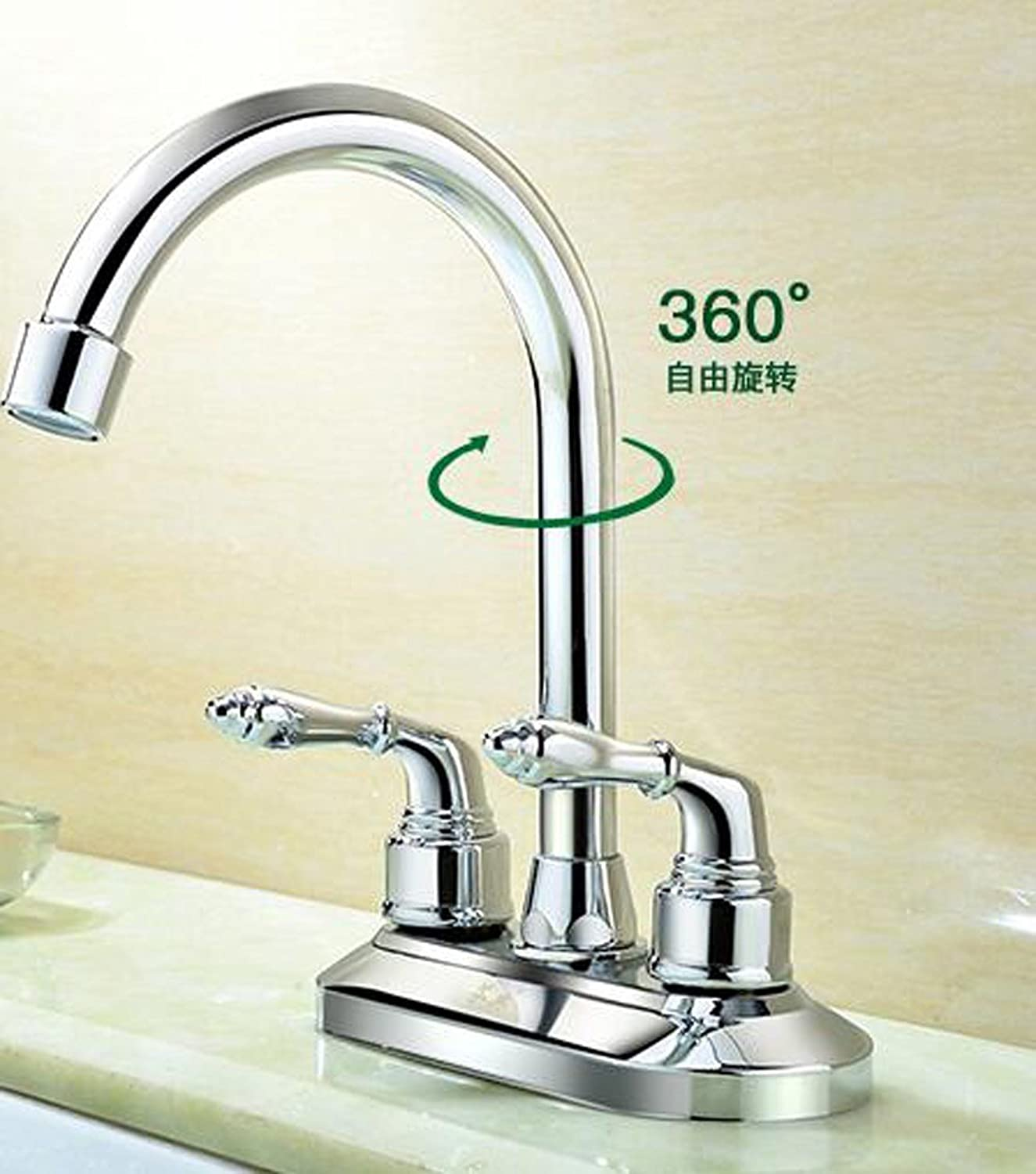 Hlluya Professional Sink Mixer Tap Kitchen Faucet Double-double-hole faucet hot and cold basin surface basin full copper bathroom wash basin mixer