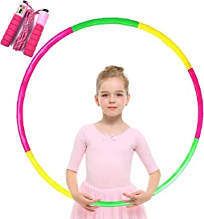 Hoola Hoops for Kids Jump Rope - Adjustable Lighted - Colorful Plastic Toy Hoola Hoop with Present Kids Jump Rope Fitness Hoola Hoops Skipping Rope - Detachable Design - Adjustable Soft Skipping
