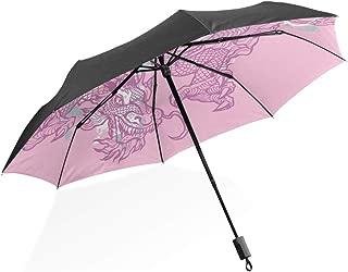 Pink Dragon Foldable Umbrella UV Protection Folding Sun Blocking Umbrellas for Beach Travel Kids Women Boys Girls