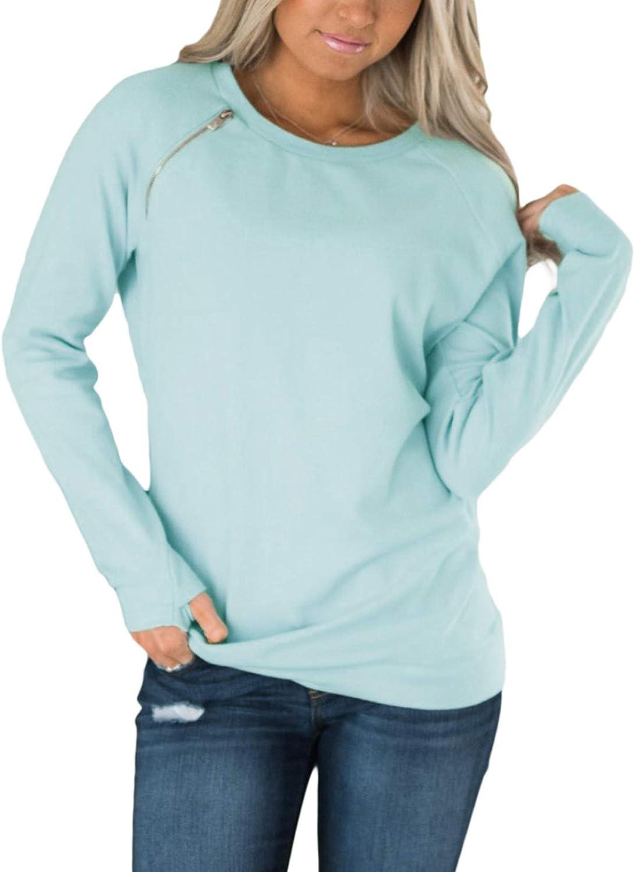 FARYSAYS Women's Casual Crewneck Sweatshirt Long Sleeve Loose Side Split Pullover Tops