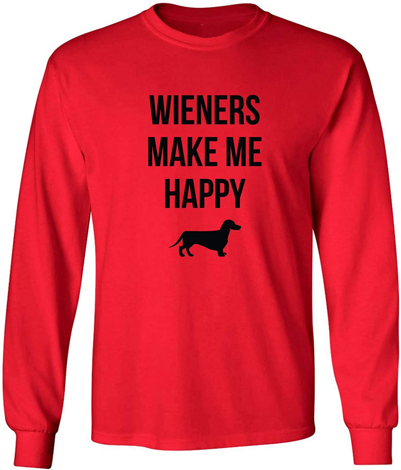 Wieners Make Me Happy Adult Long Sleeve T-Shirt in Red - XXX-Large