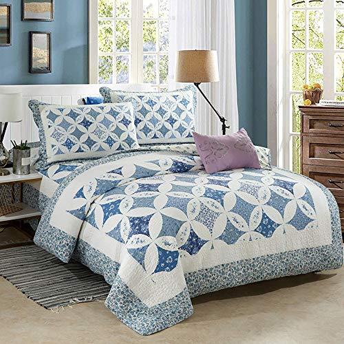 BDTOT Gesteppt Tagesdecke Überwurf Bettüberwurf Steppdecke Husse Decke Bettdecke Set mit Kissen, Gesteppte Decke aus Baumwolle für Sofa Doppelbett, Steppdecke Landhaus Patchwork
