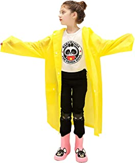arteesol Rain Coats for Kids, Children EVA Rain Poncho with Hood and Sleeves