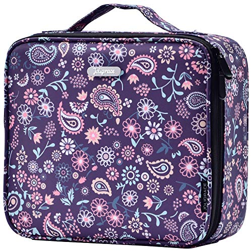 Makeup Cosmetic Bag for Women - Travel Make up bags Organizer with Handle Cute Makeup Case Purple Paisley Floral with Adjustable Dividers