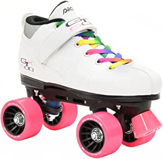 Pacer White Mach-5 GTX500 Quad Speed Roller Skates w/ 2 Pair of Laces (Rainbow & White)