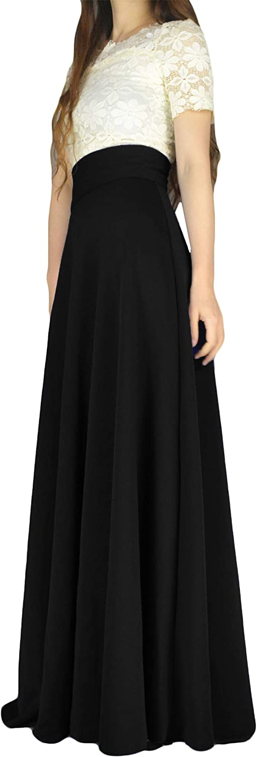 YSJERA Women's High Waist A-Line Pleated Solid Vintage Swing Maxi Skirts Midi Skirt Party