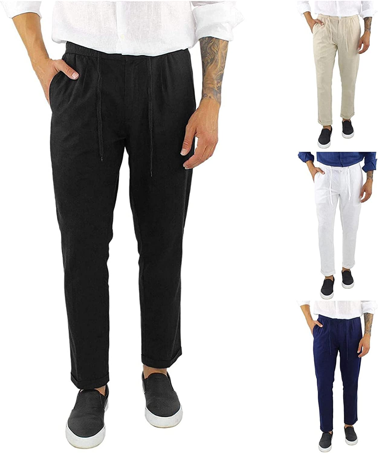 NREALY Mens Pants Cotton Linen Drawstring Casual Solid Color Folded Hem Trousers