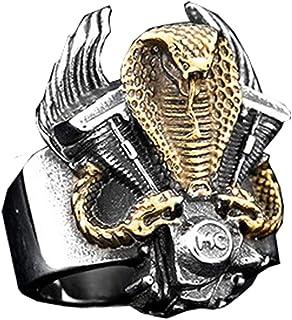 PAMTIER Men's Stainless Steel Gothic King Cobra Snake Warrior Ring Biker Punk Style