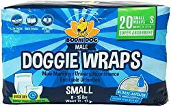 Disposable Male Dog Wraps OR Female Dog Diapers | 20 Premium Quality Adjustable Doggie Wraps OR Diapers with Moisture Control and Wetness Indicator | 20 Count