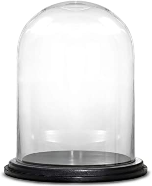 """CYS EXCEL Glass Dome Cloche with Black Wood Base (H:16"""" D:13"""")   Multiple Size Choices Decorative Showcase Display for Antiqu"""